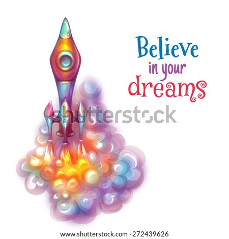 Illustration of brightly rocket with label. - stock photo