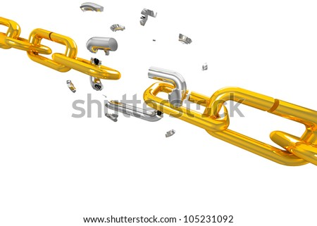 illustration of broken silver shackle in gold chain - stock photo