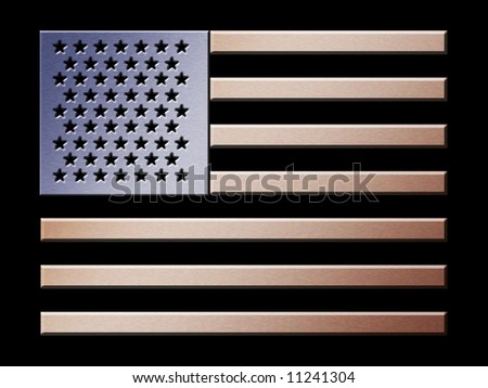 Illustration of brushed metal effect American flag - stock photo