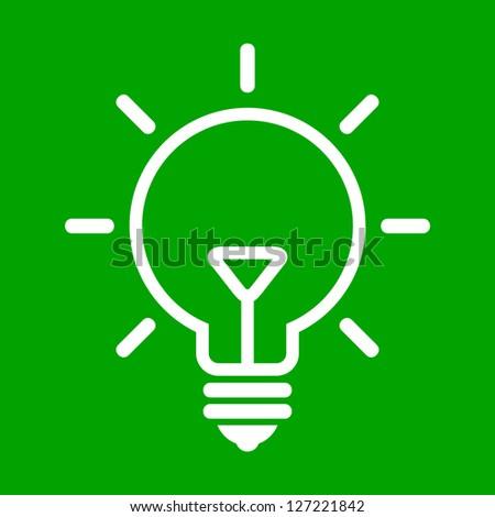 Illustration of bulb on green background - stock photo