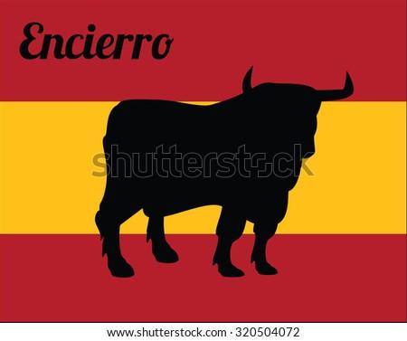 Illustration of bull silhouette, spain flag - stock photo