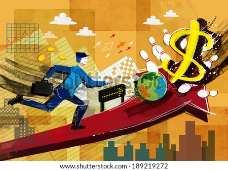 Illustration of business and chasing dollars - stock photo