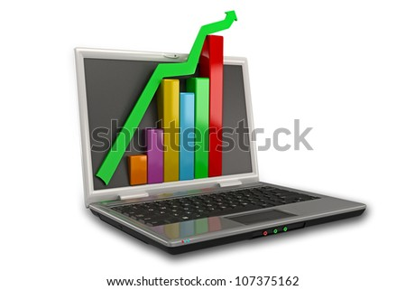 Illustration of business graph on laptop in 3d - stock photo