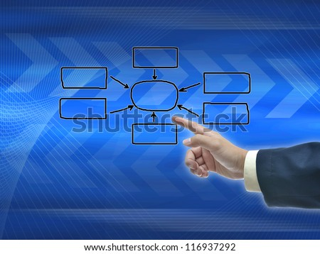 Illustration of business hand selection on blue abstract modern background.