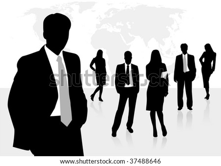 Illustration of business men and women, with reflection and world map as background