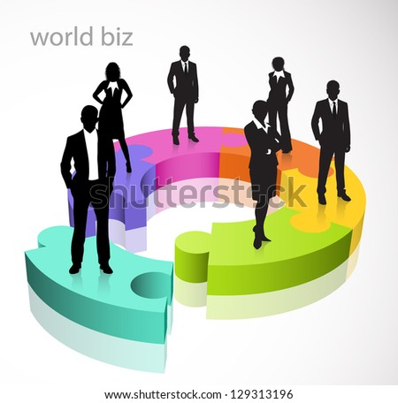 Illustration of business people and puzzle - stock photo
