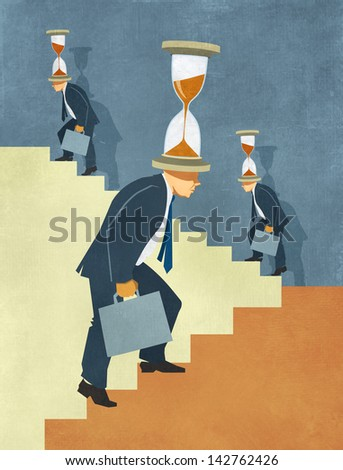 Illustration of businessman in suit climbing endless stairs with hourglass on his head. Metaphor for competition, time pressure and never ending striving for success.