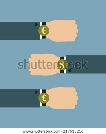 Illustration of businessman wearing over sized watch with currency signs - Euro, Dollars and British Pound