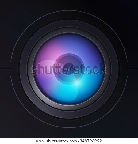 Illustration of camera lens with dispersion. Color 1.