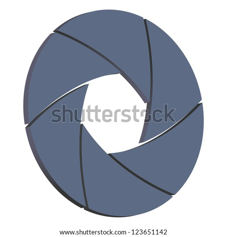 Illustration of  camera shutter, isolated on white background - stock photo