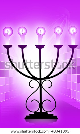 Illustration of candles in chandelier in red background