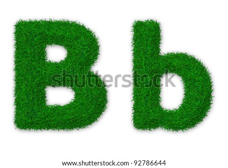Illustration of capital and lowercase letter B made of grass - stock photo