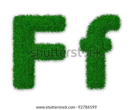 Illustration of capital and lowercase letter F made of grass - stock photo
