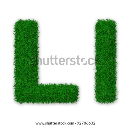 Illustration of capital and lowercase letter L made of grass - stock photo