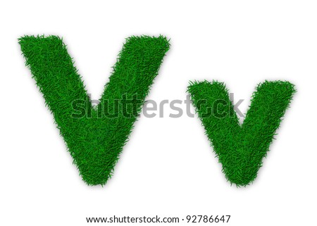 Illustration of capital and lowercase letter V made of grass - stock photo