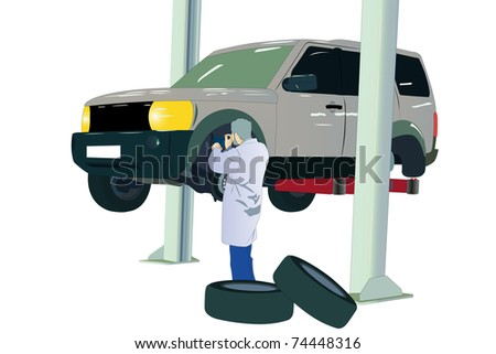 illustration of car at the service center