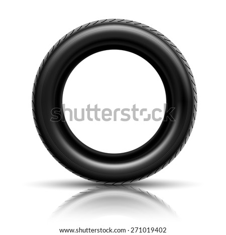 Illustration of car tire isolated on white background.  - stock photo