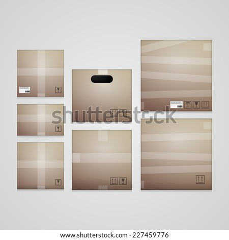 Illustration of cardboard boxes. Collection of different cardboard boxes. Set of isolated illustrations on gray background. - stock photo
