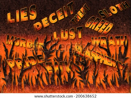 iLLUSTRATION OF CARDINAL SINS (TEXT) in a place representative of Hell - stock photo