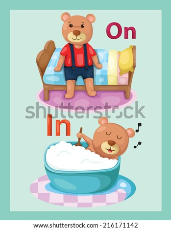 illustration of  cartoon bear with vocabulary on and in  - stock photo