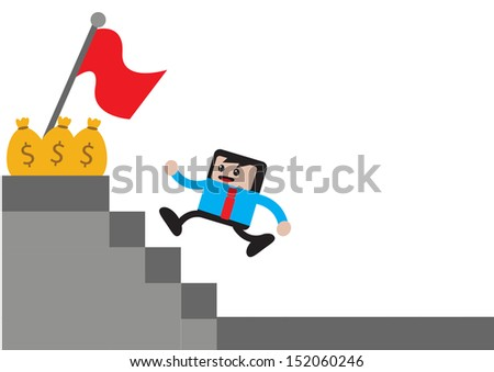 illustration of cartoon character businessman in activity