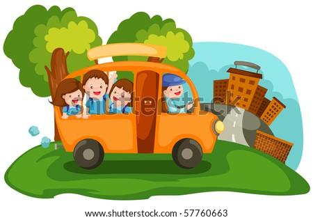 illustration of  cartoon cityscape school bus - stock photo