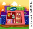 illustration of cartoon landscape pet shop - stock photo