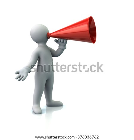 Illustration of cartoon man with a megaphone isolated on white background