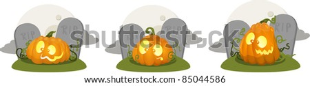 Illustration of cartoon pumpkin jack o lanterns