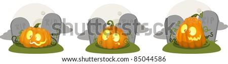 Illustration of cartoon pumpkin jack o lanterns - stock photo