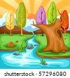 illustration of cartoon summer landscape - stock vector