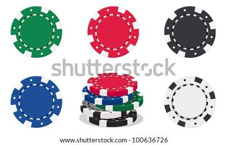 illustration of casino chips on white background - EPS VECTOR format also available in my portfolio.