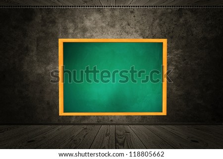 Illustration of chalkboard of green color hang on wall in room style. - stock photo