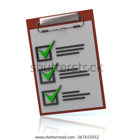 Illustration of check list isolated on white background - stock photo