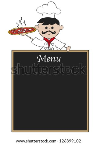 illustration of chef with blackboard