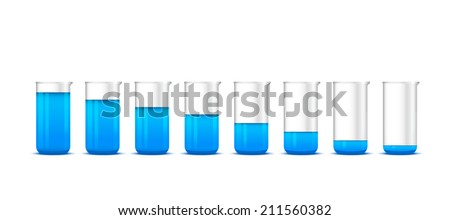 Illustration of chemical beakers with blue solution on white background - lab glassware, isolated on white background; 3d illustration, raster - stock photo