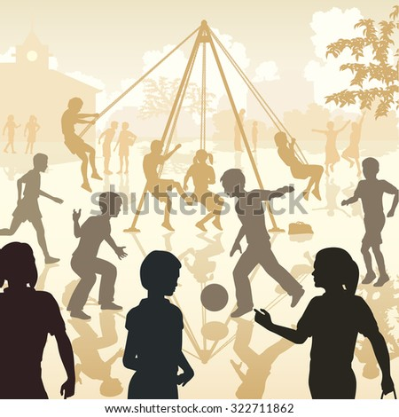 Illustration of children playing in a school playground - stock photo