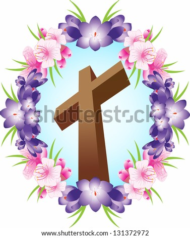 Illustration of Christian Cross in floral circle. - stock photo