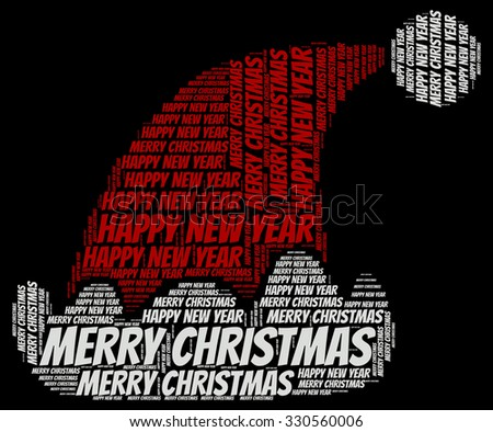 Illustration of Christmas and New Year concept in modern word cloud