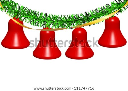 Illustration of christmas bells with decorations - stock photo