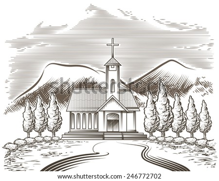 Illustration of church yard and village road against mountain landscape drawn in vintage engraving style - stock photo
