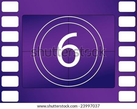illustration of cinema countdown, number 6