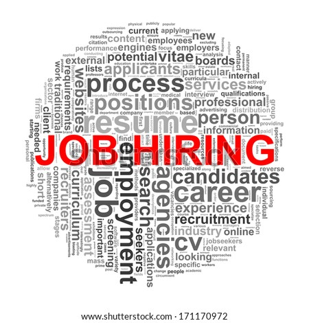 Illustration of circular design wordcloud word tags of job hiring