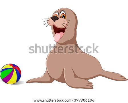 Illustration of Circus seal playing - stock photo