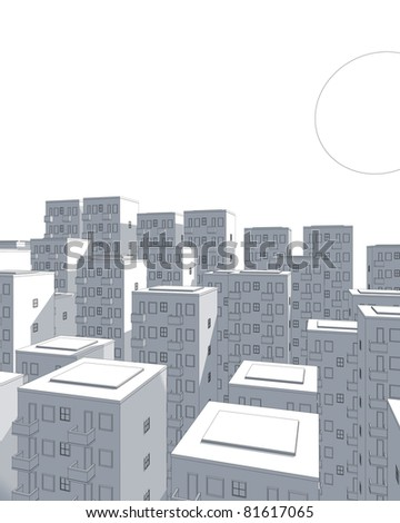 illustration of city and huge moon in blue - stock photo