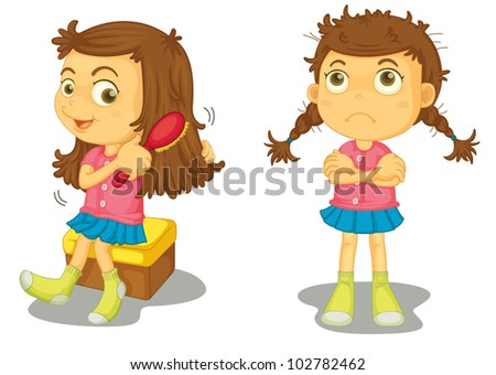 Illustration of clean and dirty girl - EPS VECTOR format also available in my portfolio. - stock photo