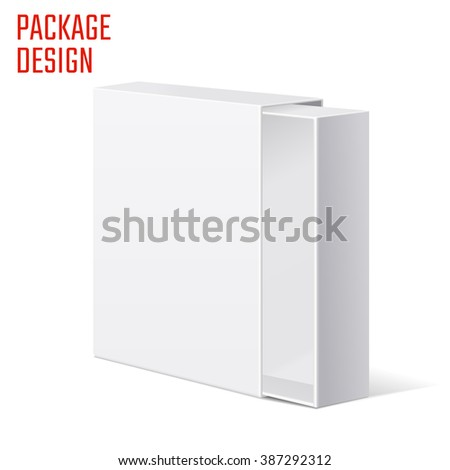 Illustration of Clear Gift Carton Box for Design, Website, Background, Banner. White Package Template isolated on white. Retail pack with for your brand on it - stock photo