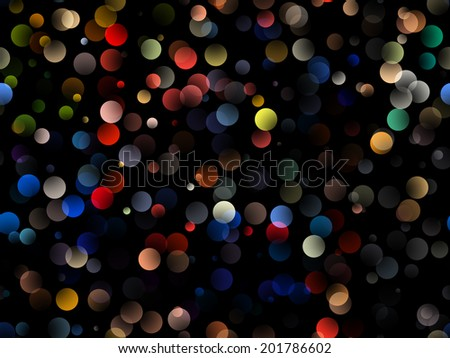 Illustration of colorful bokeh circles on the black background - stock photo