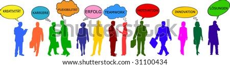 illustration of colorful business people - german - stock photo