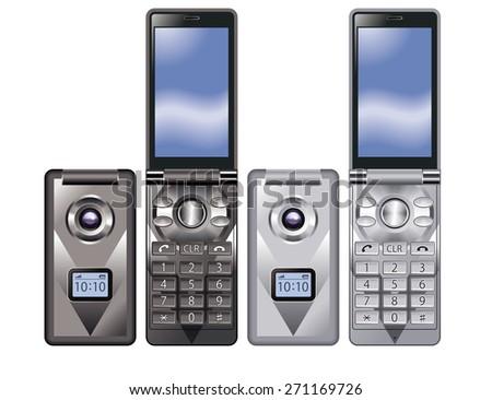 Illustration of colorful Flip Phone. / Black, Silver. - stock photo